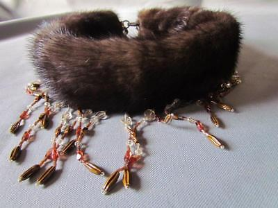 Vintage Fur Collar with Beads