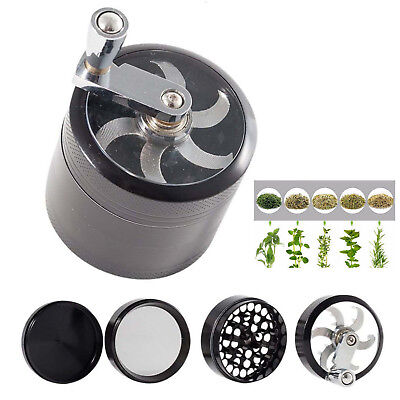 4 Piece 2 Inch Black Tobacco Herb Grinder Spice Herbal Zinc Alloy Wee d-Crusher
