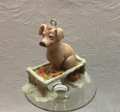 Lowell Davis Christmas Ornament - Pig In Trough - Made In Scotland