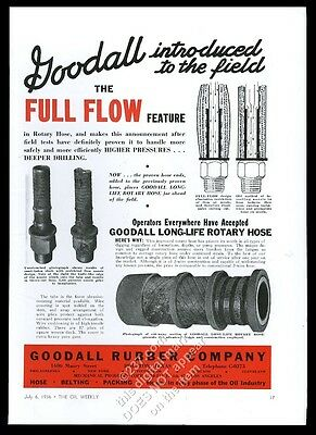 1936 Goodall Rubber oil well drilling rotary hose photo vintage trade print ad