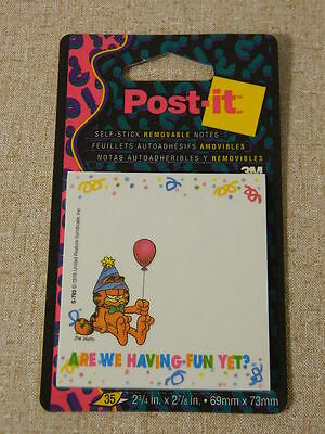 1993 Vtg Garfield Are We Having Fun Yet? Post-It Sticky Notes Brand New Balloons