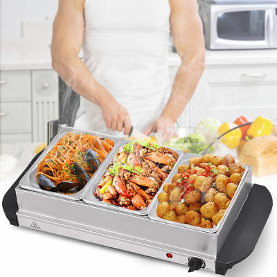 3 Tray Stainless Steel Buffet Server Food Warmer Heater Adjustable Hot Plate