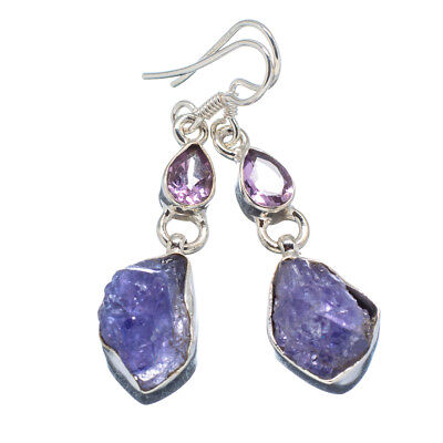 "Tanzanite, Amethyst 925 Sterling Silver Earrings 1 3/4"" Ana Co Jewelry E347610"