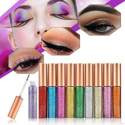10 Colors Waterproof Shimmer Metallic Cosmetic Eyeshadow Glitter Liquid Eyeliner