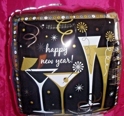 """18"""" Happy New Year - Champagne Flutes Cocktails Suitable For Helium Or Air Fill"""