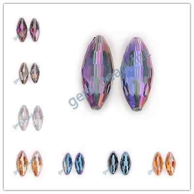 1/5pcs Big Oval Rugby Faceted Glass Crystal Beads Charm Jewelry Findings 35x15mm