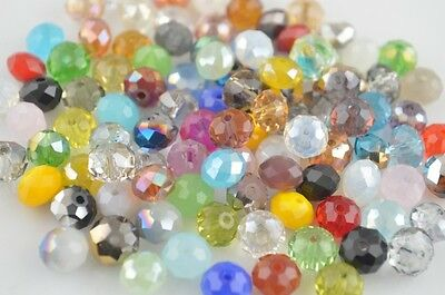 50Pcs Faceted 6x4mm Glass Loose Beads Spacer Rondelle Crystal bead Findings new