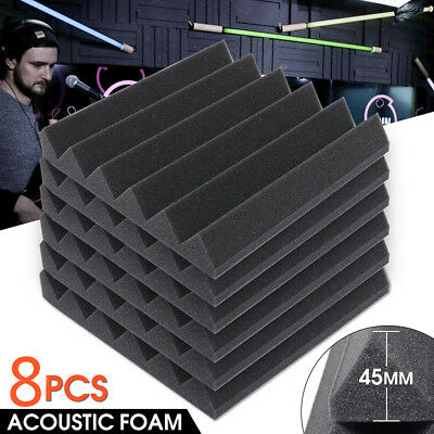 8Pack Soundproofing Foam Acoustic Studio Wedge Tiles Wall Panels 2''x12''x12''