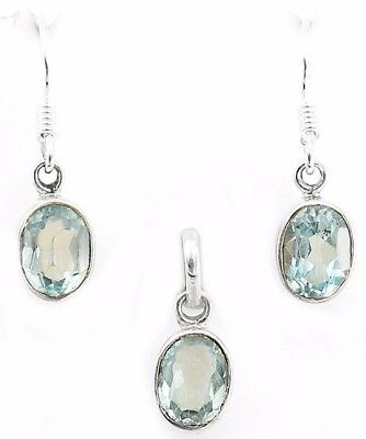 """Aquamarine 925 Solid Sterling Silver Earrings Pendant Set Jewelry 1"""" Long, R13"""
