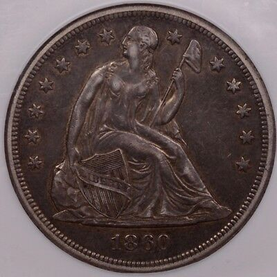 1860-O Liberty Seated dollar, NGC AU53, excellent quality   DavidKahnRareCoins