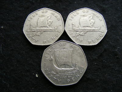 Isle of Man Large 50p Coins Lot of 3 1976 1978 & 1979 circulated VF