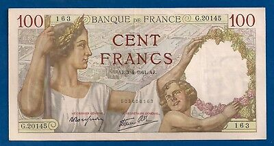 France 100 Francs 1941 P-94 Woman & Child Paris in Background WW2 Banknote