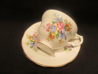Rosina Yellow Pink & Purple Flowers Vintage Bone China Cup & Saucer