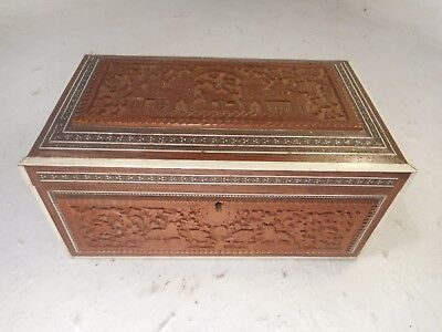Antique Anglo Indian Carved Tea Caddy Box  ,   ref 3092