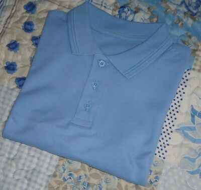 Boys Blue 100% Cotton School Uniform PE Polo Shirt 7-8 Years Height 122-128cm