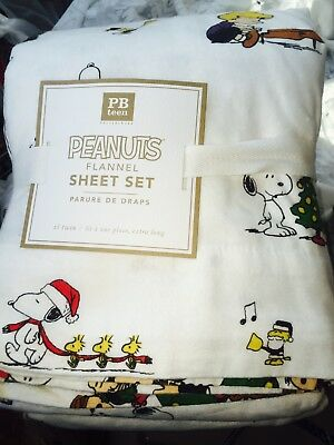 6aebec7ed1 Pottery Barn Teen Peanuts Snoopy Flannel Sheet Set Christmas Holiday Twin XL