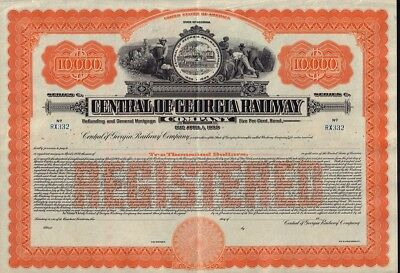 State of Georgia : Central of Georgia Railway Co USD 10,000 Gold Bond unissued