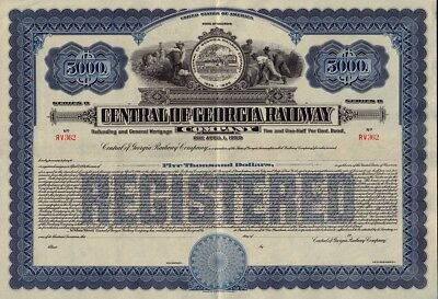 State of Georgia : Central of Georgia Railway Co USD 5,000 Gold Bond unissued