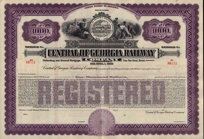 State of Georgia : Central of Georgia Railway Co USD 1,000 Gold Bond unissued