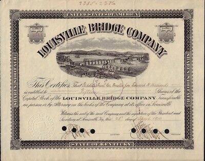 Louisville Bridge Company Kentucky 1909 issued to Miss Margaret Smith