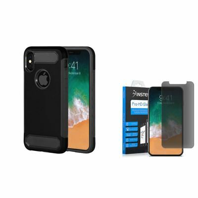 For Apple iPhone X/XS Hybrid Rubber Case Black (+ Anti Spy Privacy Glass Screen)