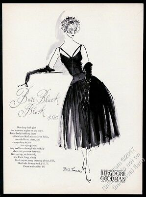 1955 bare black evening dress & gloves Bergdorf Goodman vintage fashion print ad