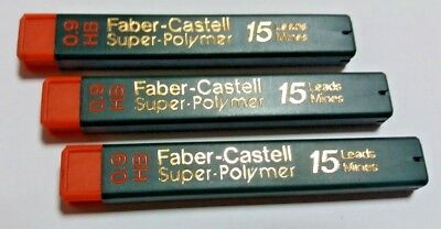3x15=45 FABER-CASTELL SUPER POLYMER REFILL LEADS FOR MECHANICAL PENCIL 0.9mm HB
