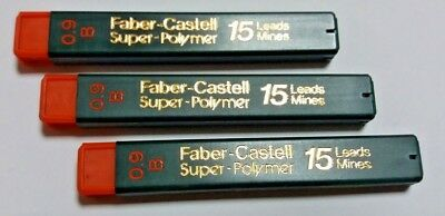 3x15=45 FABER-CASTELL SUPER POLYMER REFILL LEADS FOR MECHANICAL PENCIL 0.9mm B