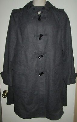 GAP Maternity COAT XXL Gray WOOL BLEND Hooded 2X Car Coat ZIPPER Toggle EPAULETS