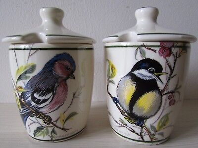 Vintage 2 X Preserve Pots Brixham Pottery Ltd, Dawlish, Devon, Birds Design.