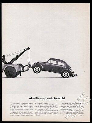 1965 VW Beetle classic car and tow truck photo Volkswagen 13x10 vintage print ad