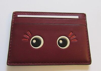 Coach Glitter Flirty flat Card Case- burgundy color emoji eyes F23778