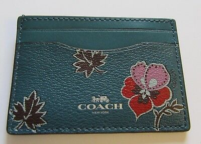 Coach Wildflower print Card Case- floral teal pink brown red flowers F12773