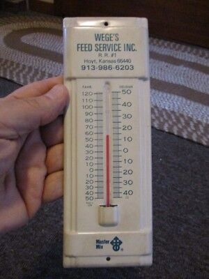 Vintage MASTERMIX FEEDS Dealer Metal THERMOMETER....Hoyt, Kansas