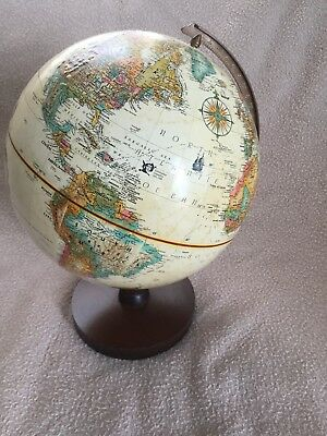 "Vintage Replogle Globe 9"" diameter Raised Terrain Wood Base"