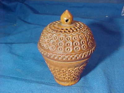 19thc SEWING BASKET Shape Hand Carved THIMBLE CASE Ornate VEGETABLE IVORY
