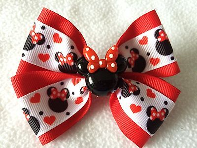 "Girls Hair Bow 4"" Wide Minnie Mouse Hearts Ribbon Red Flatback Alligator Clip"