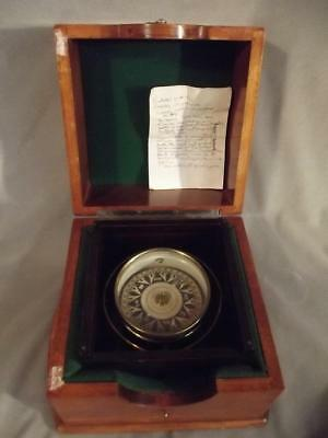 Antique Brass Boat Compass In Fitted Box
