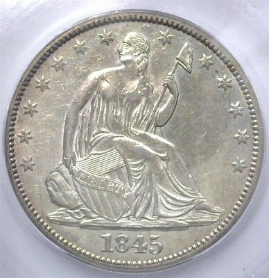 1845-O Seated Liberty Silver 50 Cents -No Drapery- Icg Au53  Better Date!