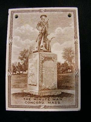 Wedgwood 1923 Calendar Tile - Minute Man Statue Concord Mass.