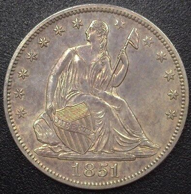 1851 Seated Liberty Silver 50 Cents  Uncirculated  Very Rare This Nice!
