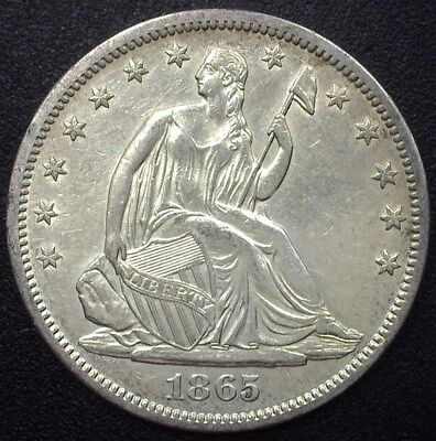 1865-S Seated Liberty Silver 50 Cents  Nearly Uncirculated