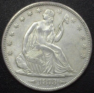 1873-S Seated Liberty Silver 50 Cents  Choice Almost Uncirculated