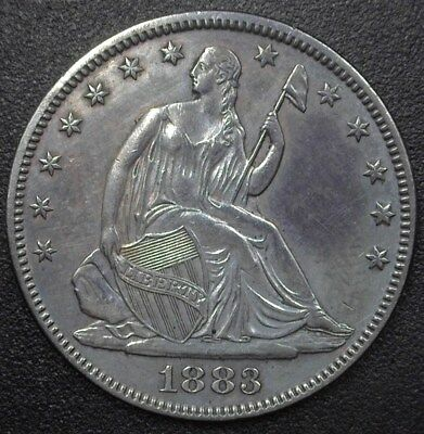 1883 Seated Liberty Silver 50 Cents  Nearly Uncirculated  Only 8,000 Minted!