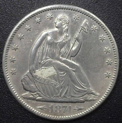 1874-S Seated Liberty Silver 50 Cents  Nearly Uncirculated  Rare This Nice!