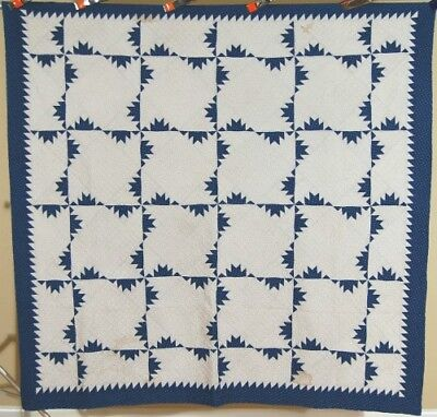 WELL QUILTED Vintage 1890s Indigo Blue & White Delectable Mountain Antique Quilt