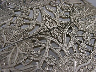 STUNNING LARGE ANGLO INDIAN SILVER BELT BUCKLE c1900 EASTERN ANTIQUE 4.25inch