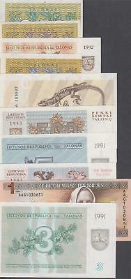 10 Banknotes from Lithuania all AU or Better