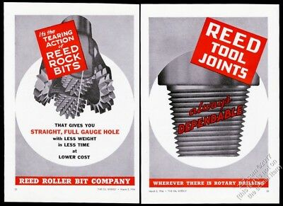 1936 Reed Roller Bit oil well tool joints illustrated vintage print ad