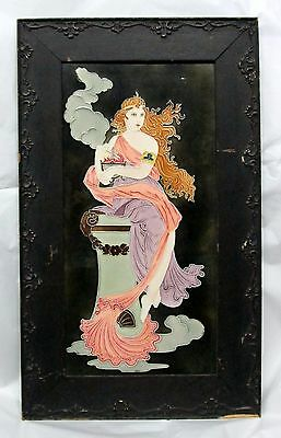 Antique Art Nouveau Tile GODDESS Woman w/ Cauldron of Fire w Original WOOD FRAME